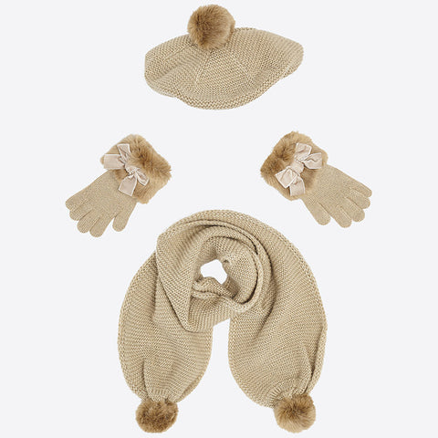 10505 Mayoral Faux Fur Gold Lurex Knit Hat, Scarf, & Glove Set