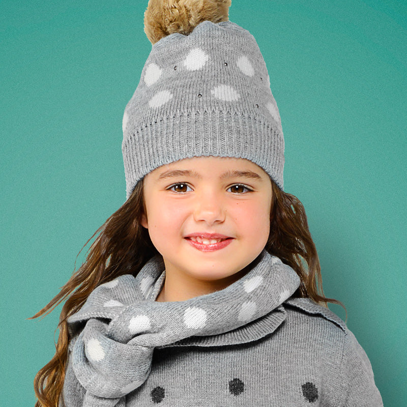 Grey knit beanie hat with faux fur puff ball, scarf, and glove set.  Mayoral 10507.  Grey