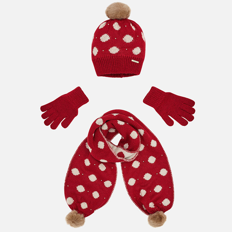 Mayoral 10507 knit hat, scarf, and gloves set, red and polka dots for girls