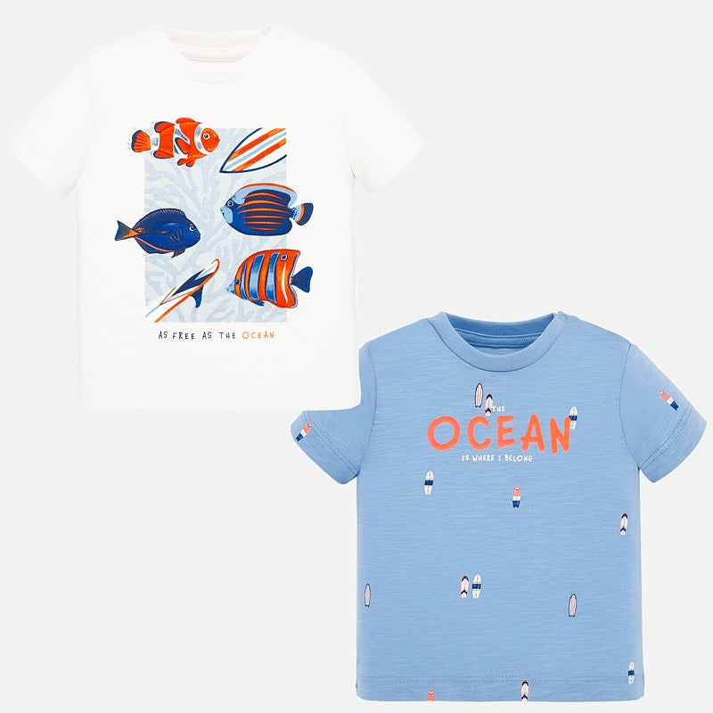 1051 Mayoral Boys Short Sleeve T-shirt, 2 PC Set, Ocean Fish