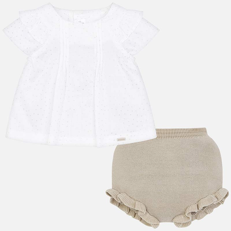 Mayoral 1101 Luxury baby lavette gift set.  poplin a-line top and ruffled bloomers.  sand tan color for newborn gift.