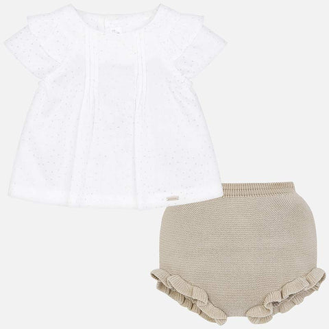 1101 Mayoral Layette Tricot Blouse & Knit Bloomer Set