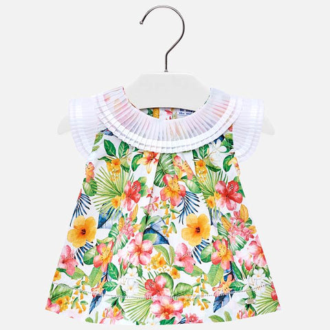1111 Pleated Collar Tropical Print Blouse