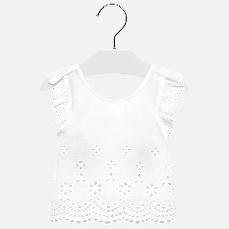 toddler girl white summer top, eyelet lace, criss cross back, Mayoral 1112