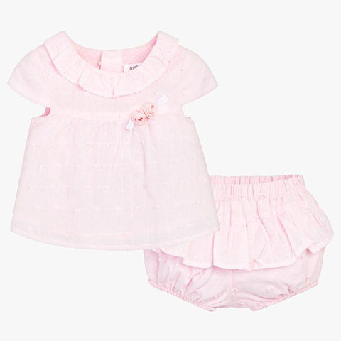 Baby Girl Rosette Top & Ruffled Bloomers, Soft Petal Pink
