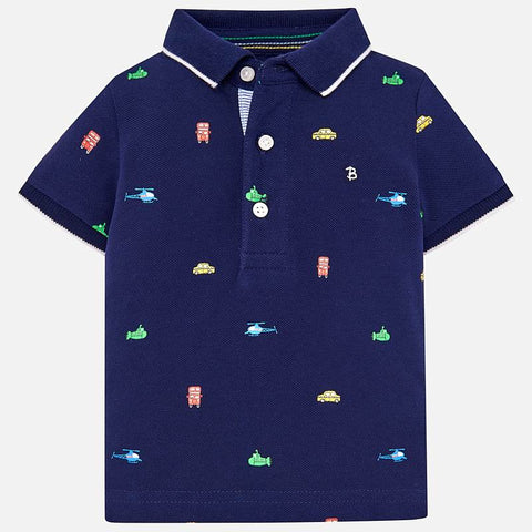 1118 Mayoral Boys Embroidered Polo Shirt, Navy Locomotives