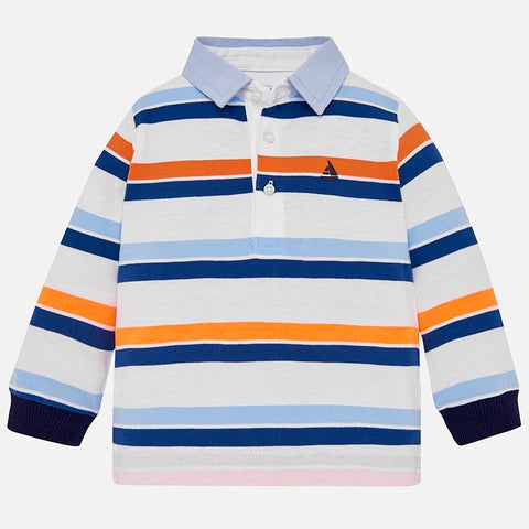 1125 Mayoral Nautical Striped L/S Polo, Orange/Navy