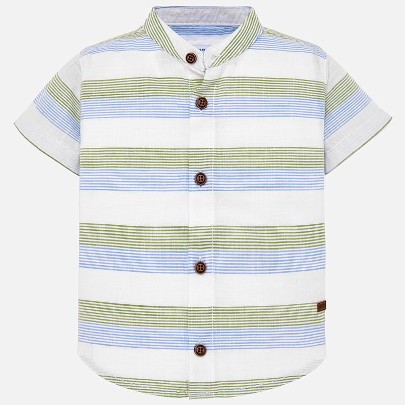 mao collar little boys button up, green & blue striped