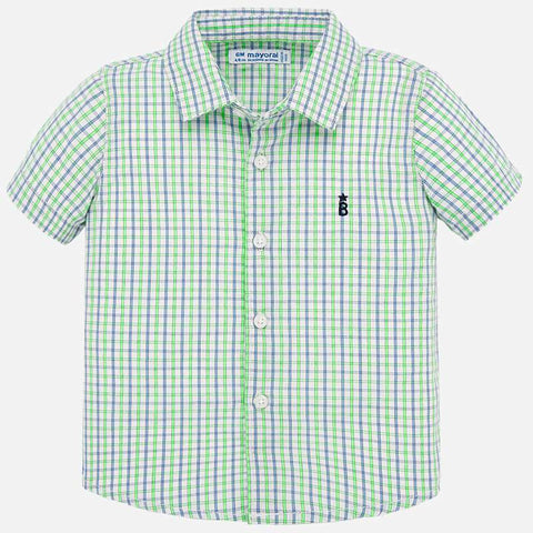 1158 Mayoral Boys Checked Short Sleeve Button Up, Apple Green