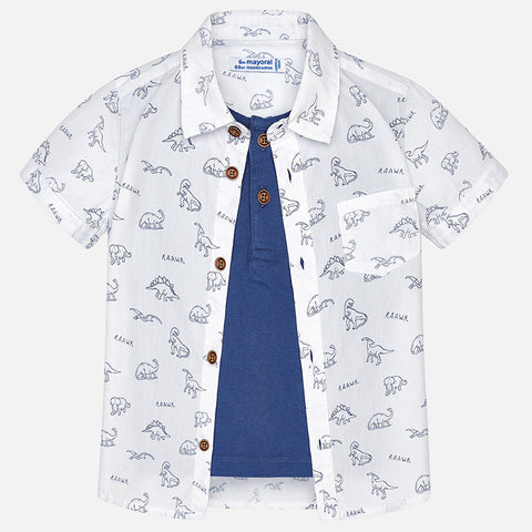 Boys Mayoral 1160 Short Sleeve Button Up Shirt, 2-in-1, White, Dinosaur