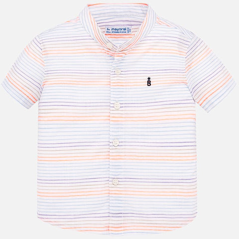 1161 Mayoral Boys Short Embroidered Sleeve Button Up Shirt, Mango Orange Stripes