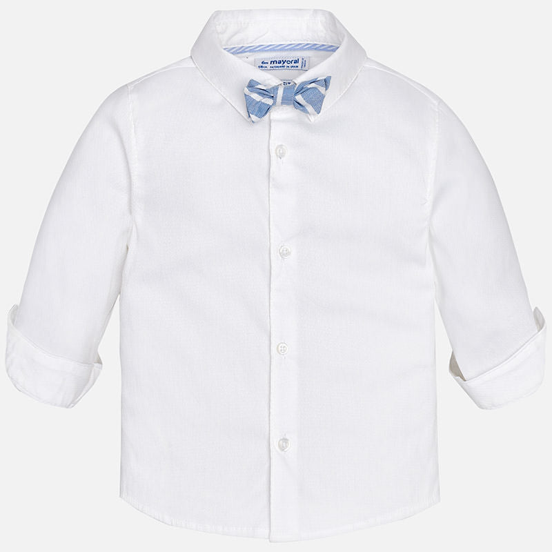 little boys dress shirt, white with light blue striped bow tie