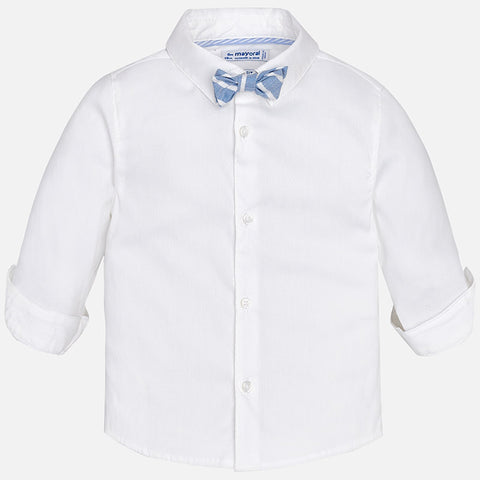 Mayoral 1164 Stretch White Fitted Dress Shirt w/Baby Blue Linen Bow Tie