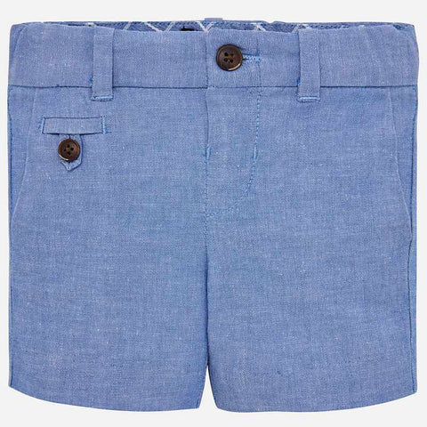 1238 Little Boys Chambray Blue Linen Dress Shorts