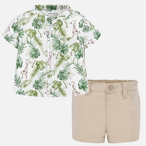 1273 Mayoral 2 PC Baby Boys Summer Shirt & Shorts Set, Palm Leaf Sand Vacation