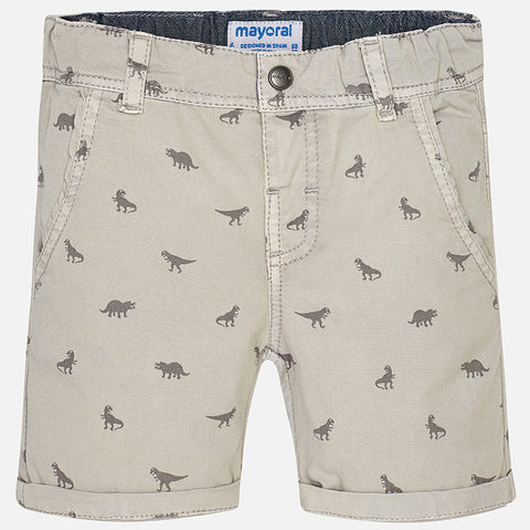 Boys Mayoral 1290 Summer Shorts, Dinosaur Print, Stone/Tan