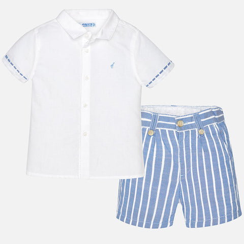 Boys Mayoral 1295 Summer Linen Shirt & Striped Shorts, Sky Blue, Giraffe