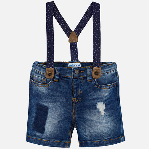 Boys Mayoral 1296 Denim Shorts, Distressed w/Suspenders, ABCs