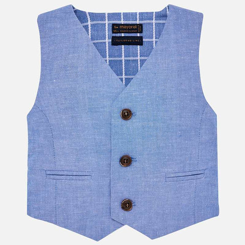 1313 Little Boys Chambray Blue Linen Dress Vest