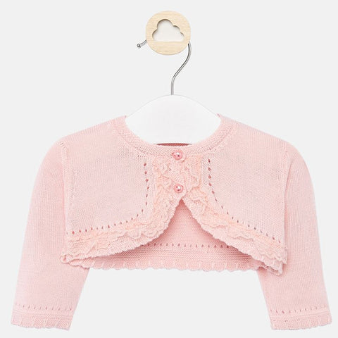 1317 Mayoral Ceremony Ruffled Knit Cropped Cardigan, Nectar Soft Pink