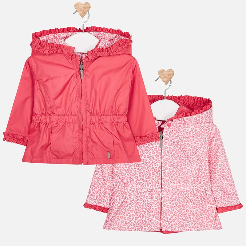 1404 Mayoral girls reversible windbreaker, lightweight, coral, floral print hoodie