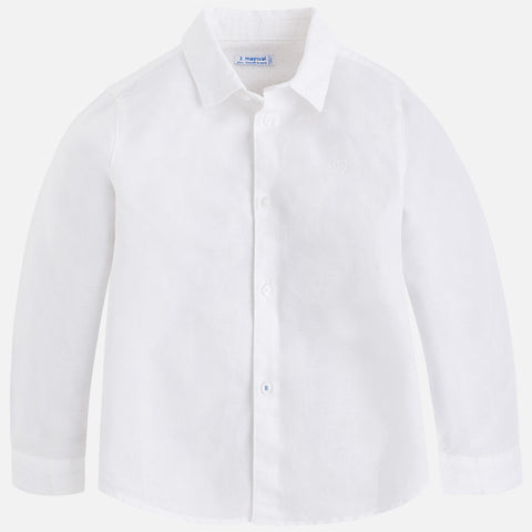 Mayoral 141, Boys Long Sleeve Linen Dress Shirt, White