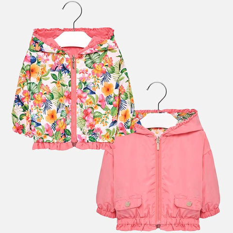1422 Mayoral Girls Reversible Windbreaker, Tropical Palm Print