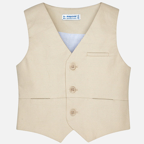 Mayoral Boys Tan Dress Vest, Seersucker Back, Mayoral 1442