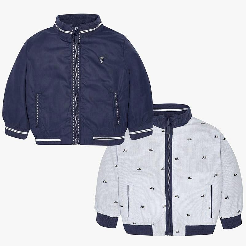 Mayoral 1468 little boys reversible windbreaker, scooter print and navy
