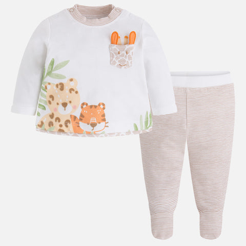 Baby Boy 3D Safari Friends 2 Piece Layette Footie Set, Mayoral 1506