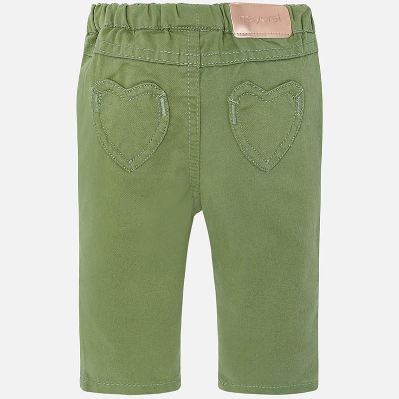 baby girls olive green heart pocket playwear casual pants