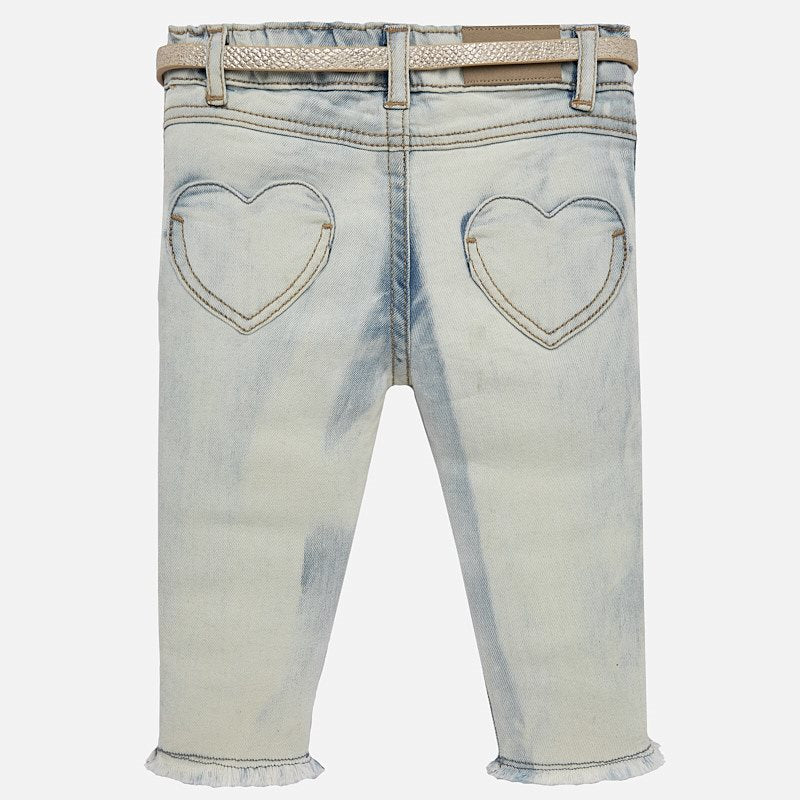 bleached jeans with heart pockets, golden belt, mayoral 1516 for girls
