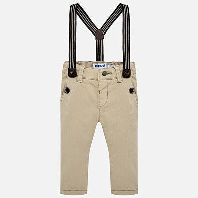 1524 Mayoral Boys Thin Corduroy Trouser Pants w/Suspenders, Tan