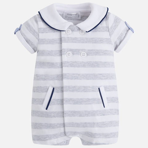 Baby Bear Boys Striped Grey Romper w/Ears, Mayoral 1614