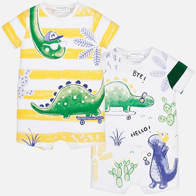 dinosaur print shortall onepiece bodysuits for baby boys, summer, mayoral 1631