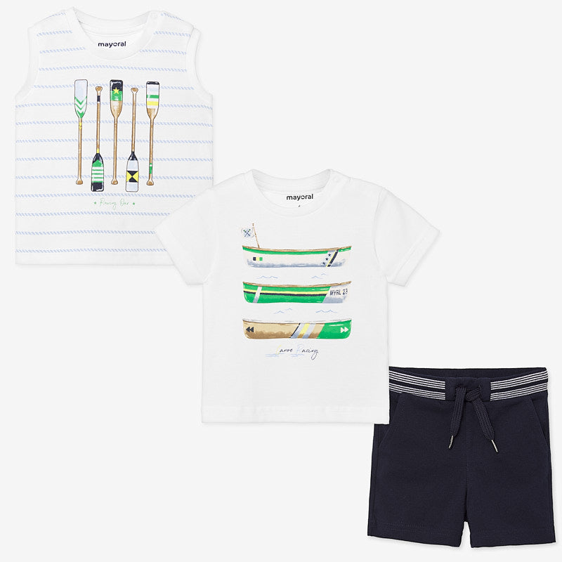 1693 Mayoral Boys 3 PC Outfit Set, Rowing Club Navy & Green