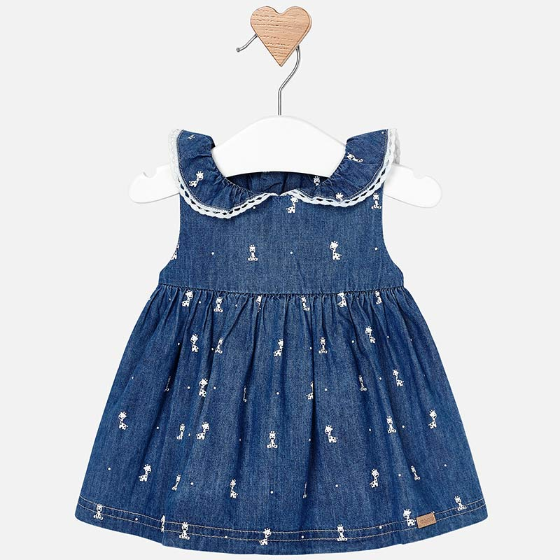 mayoral 1808 denim sun dress for girls, giraffe print denim dress