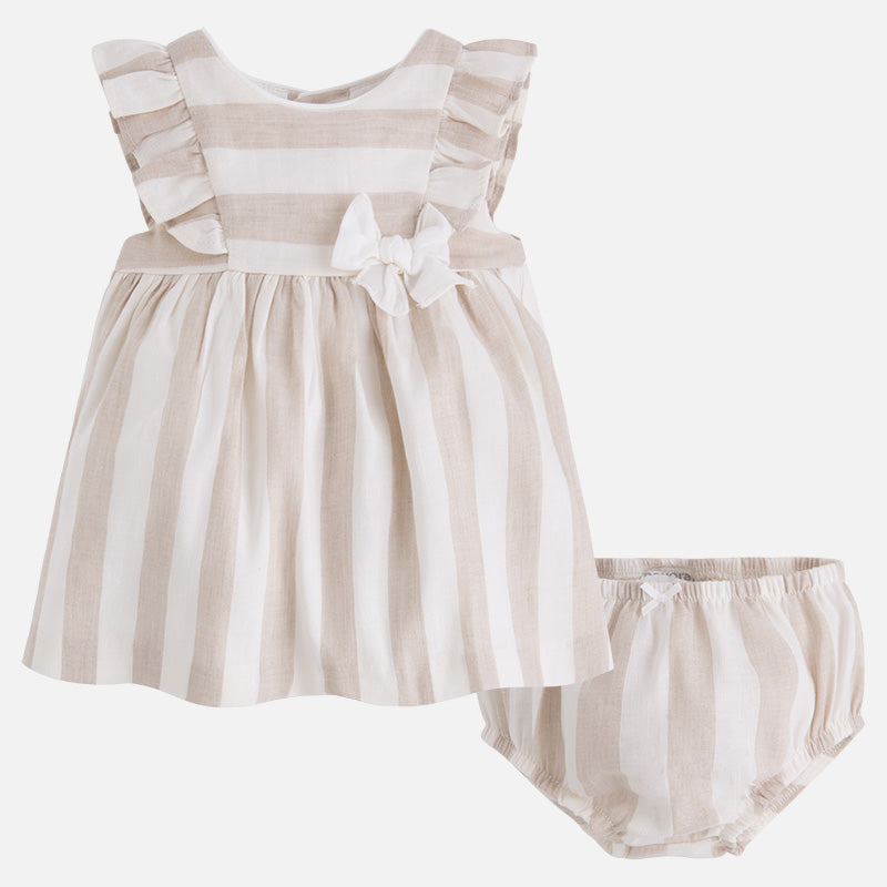 Baby Girl Tan Linen Dress and Diaper Cover, Mayoral 1818