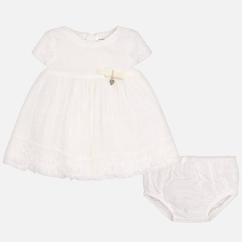 mayoral infant white guipure lace overlay dress