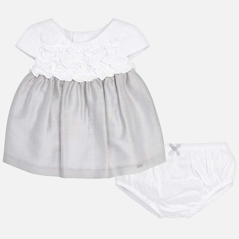 little girls formal rosette & silver satin dress, mayoral 1830