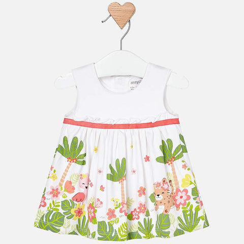 1840 Mayoral Baby Girls Tropical Rain Forest Friends Dress, White & Coral