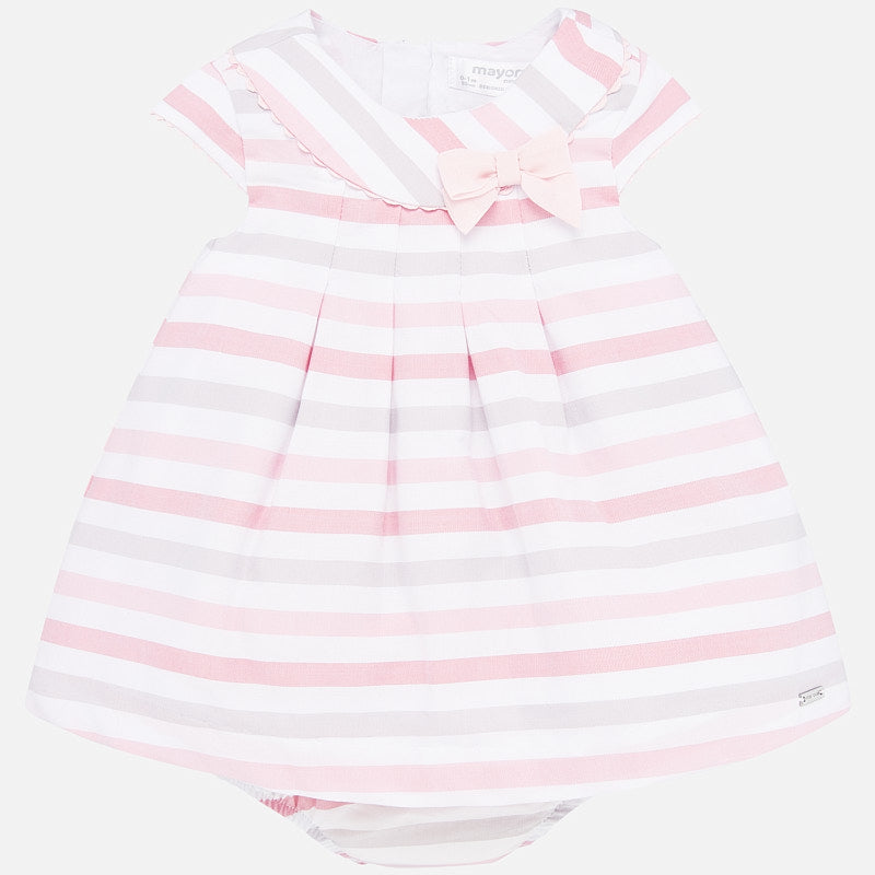 Mayoral 1856 striped pink and grey pleated dress, formal dress up for baby girls