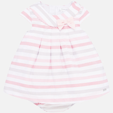 1856 Mayoral Pink Striped A-Line Dress, Scalloped Lace Details