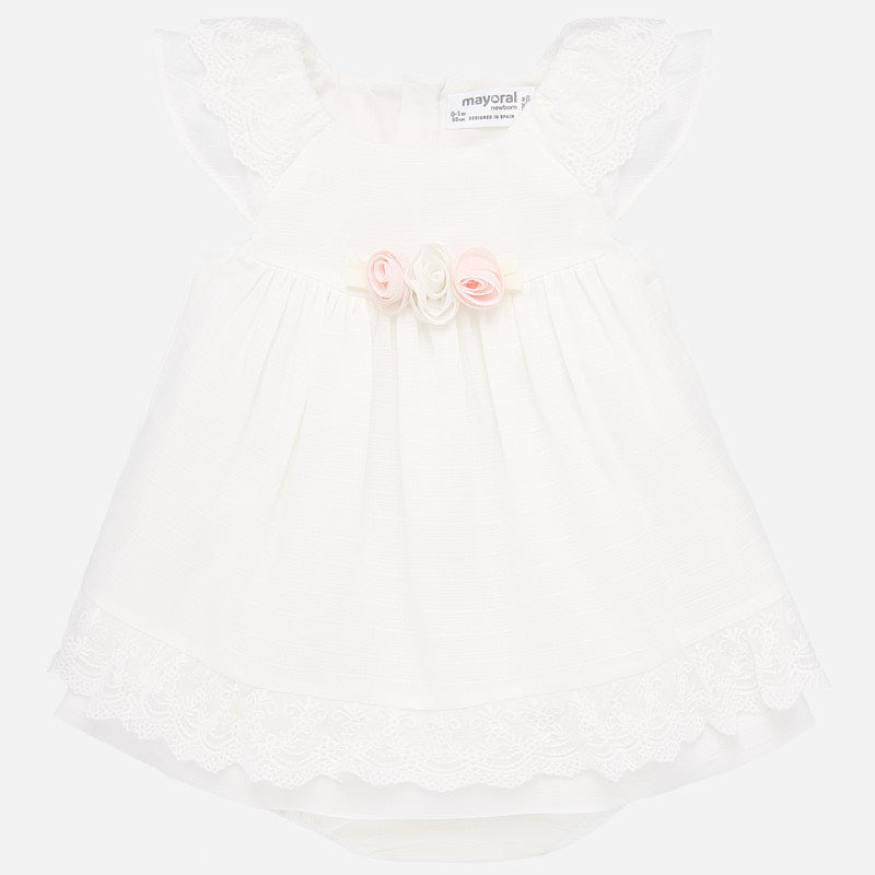 Mayoral 1876 Baby Girls White Lace Trim Dress with pink rose accents