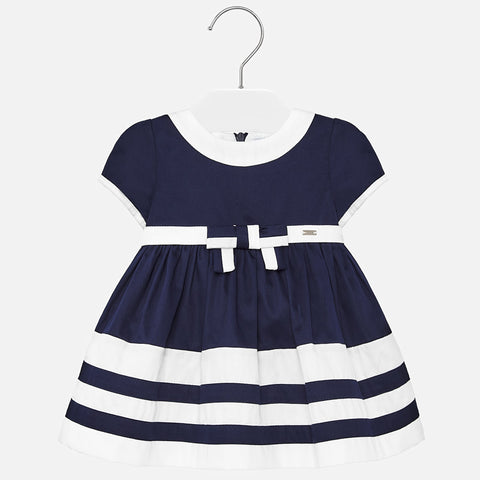 1916 Mayoral Classic Tailored Navy & White Pleated Dress