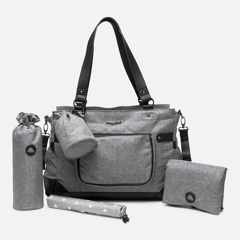 Unisex diaper bag, gender neural dark charcoal grey