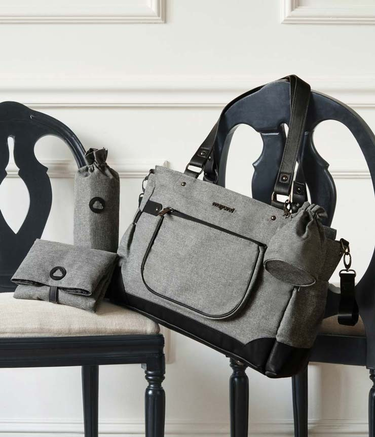 gender neutral modern diaper bag, charcoal greu