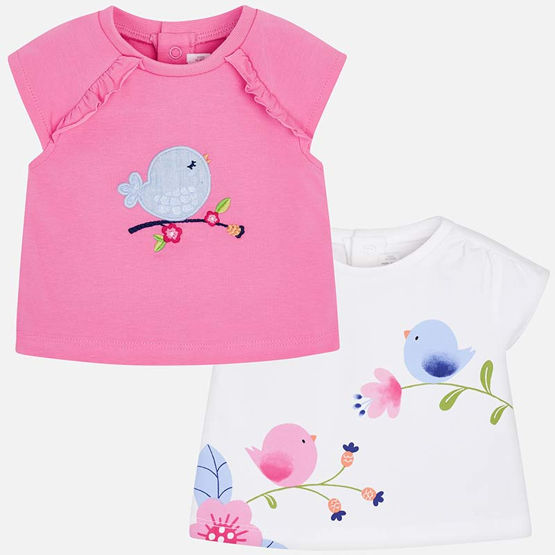 birdie print and embroidered t-shirts for baby girls, mayoral 1001