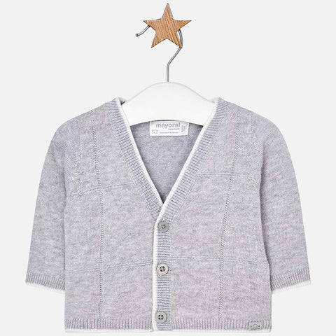 1306 Mayoral Infant Boys Lightweight Cardigan Sweater, Light Grey