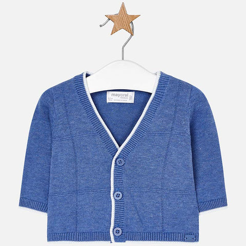 1306 Mayoral Infant Boys Lightweight Cardigan Sweater, Ocean Blue